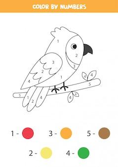 Colorez le perroquet mignon de bande dessinée.