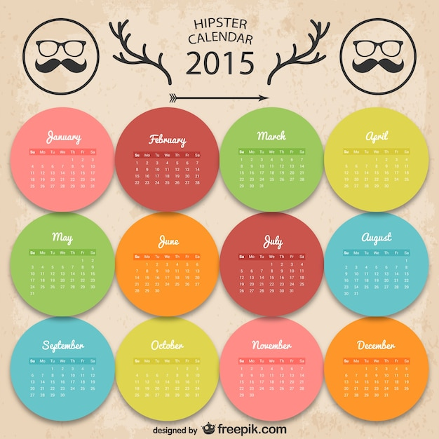 Colorful calendrier hipster