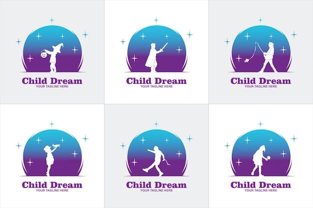 Colorful child reaching star logo vector, modèle de conceptions de logo de l'éducation, concept de design, logo, élément de logotype pour le modèle
