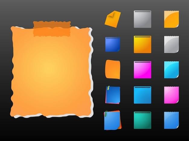 Colorful éléments bureaux notes de papier