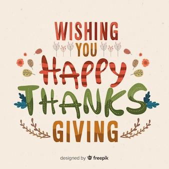 Colorful lettrage joyeux thanksgiving