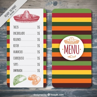Colorful menu template mexicain