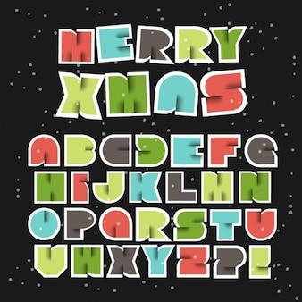 Colorful retro christmas vector alphabet