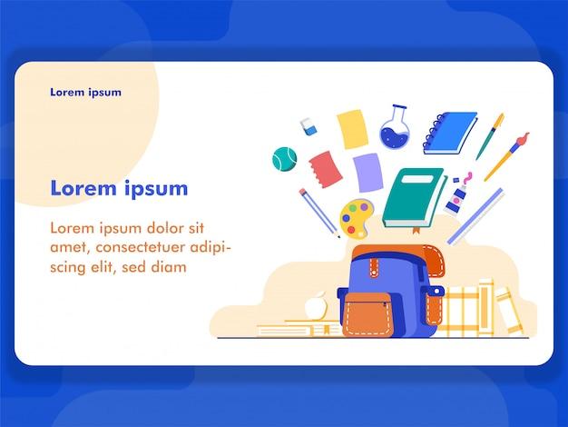 Colorfull back au concept d'illustration scolaire pour l'illustration web et la bannière avec style plat