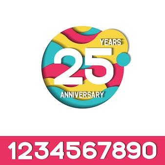 Colorfull papercut 25 ans anniversaire logo