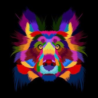 Colorfull vecteur de chien dans le pop art