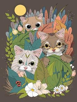 Coloriage adulte chatons sauvages se cachant derrière des plantes