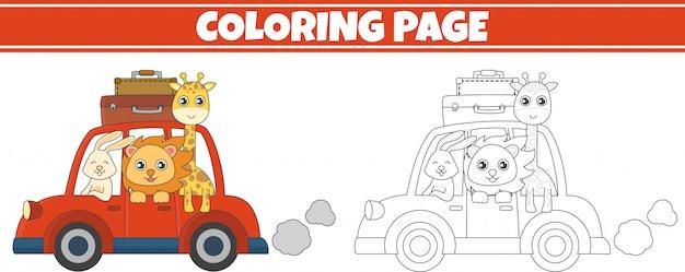 Coloriage animal dans une voiture