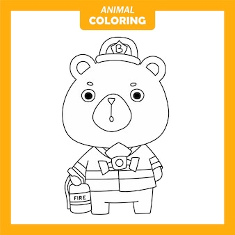 Coloriage - animal mignon ours firefigther occupation du travail