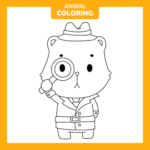 Coloriage - animal mignon quokka detective job occupation