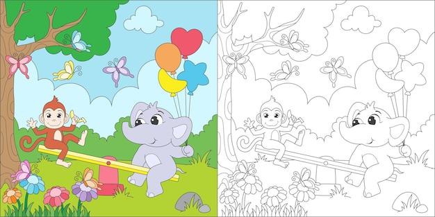 Coloriage animaux jouant à la balançoire