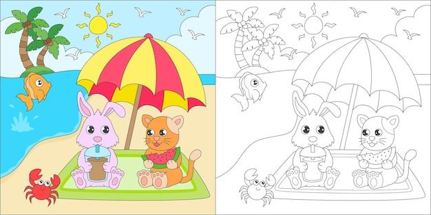 Coloriage animaux vacances sur la plage