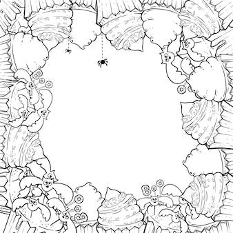 Coloriage: cadre avec des cupcakes d'halloween, crème, araignée, chapeau de sorcière.