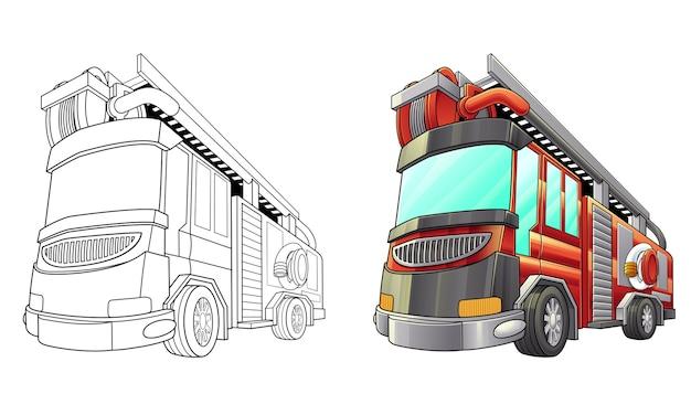 Coloriage de camion de pompiers pour les enfants