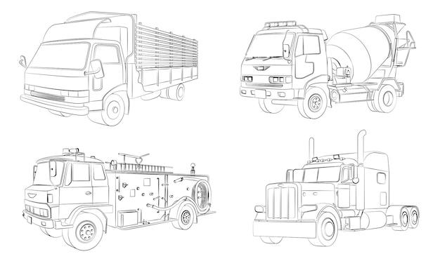 Coloriage de camions de dessin animé pour les enfants