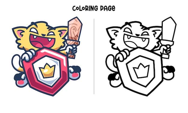 Coloriage - le chat chevalier avec bouclier