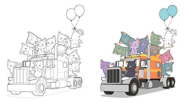 Coloriage de chats mignons sur le camion facilement pour les enfants