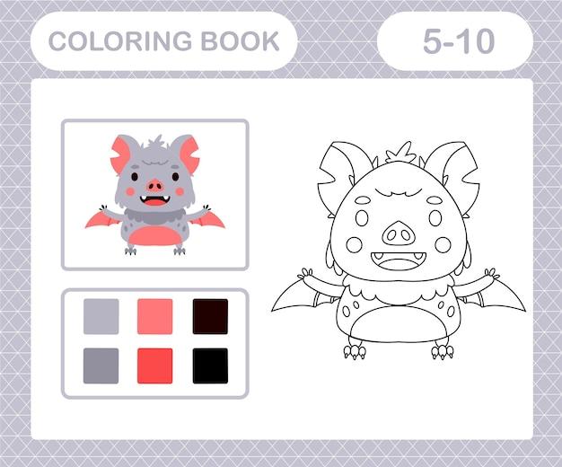 Coloriage chauve-souris de dessin animé, jeu éducatif pour les enfants de 5 et 10 ans