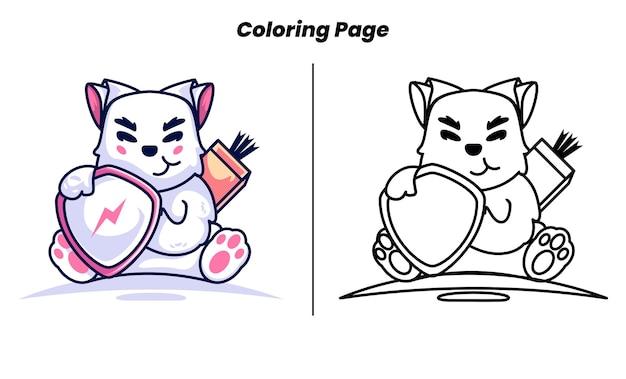 Coloriage de chevalier chat avec bouclier à colorier