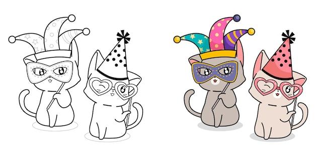 Coloriage de dessin animé adorable chat fantaisie