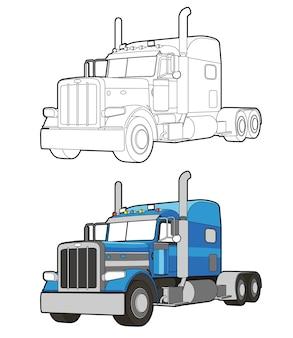 Coloriage de dessin animé de camion pour les enfants