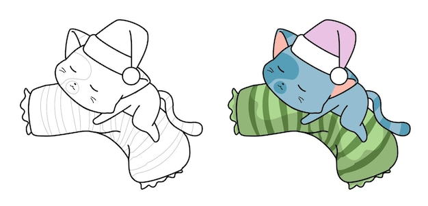 Coloriage de dessin animé chat endormi