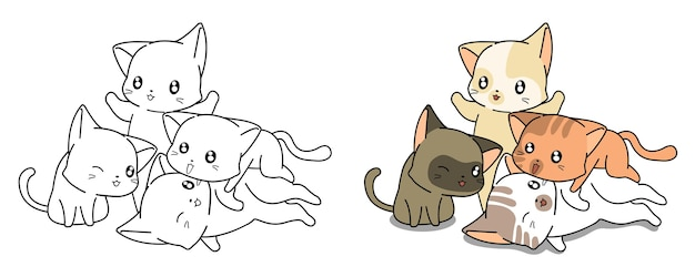 Coloriage de dessin animé de chats kawaii pour les enfants