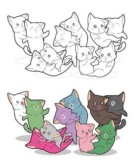 Coloriage de dessin animé de chats mignons colorés pour les enfants