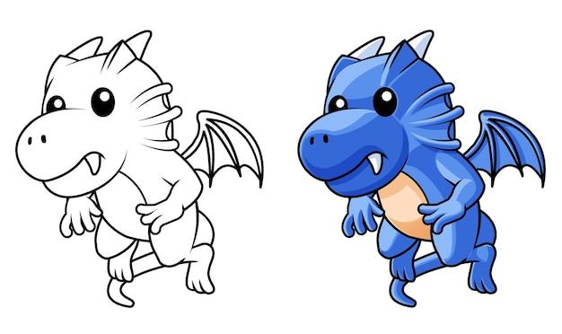 Coloriage de dessin animé dragon mignon pour les enfants