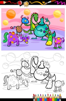Coloriage de dessin animé fantastique groupe page