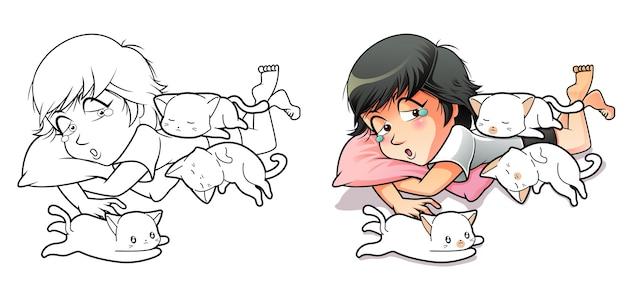 Coloriage de dessin animé fille et 3 chats