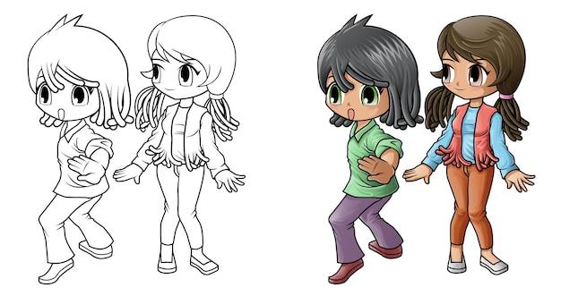Coloriage de dessin animé garçon et fille pour les enfants