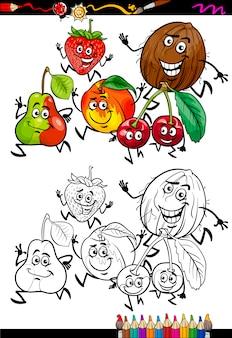 Coloriage de dessin animé de groupe de fruits