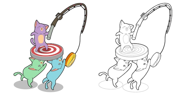 Coloriage de dessin animé kawaii 3 chats
