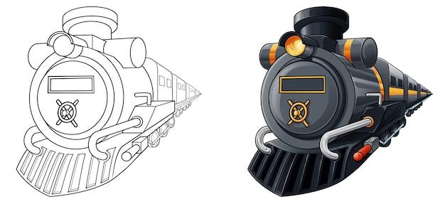 Coloriage de dessin animé de locomotive