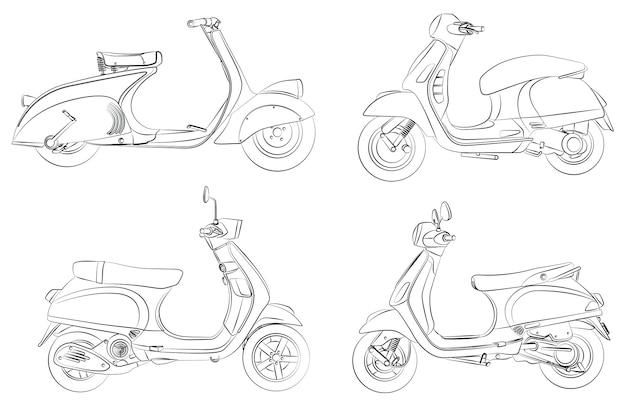Coloriage de dessin animé de moto pour les enfants