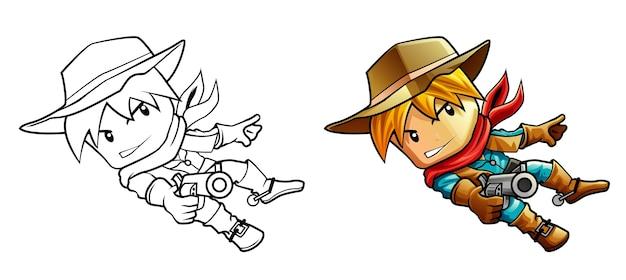 Coloriage de dessin animé de shérif du far west pour les enfants