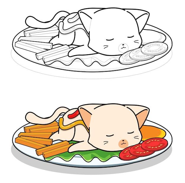 Coloriage de dessin animé de steak de chat pour les enfants