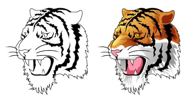 Coloriage de dessin animé tête de tigre pour les enfants