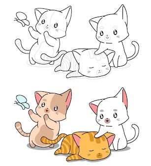 Coloriage de dessin animé de trois chats pour les enfants