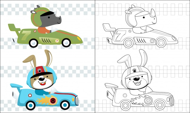 Coloriage dessin animé voiture de course avec coureur drôle