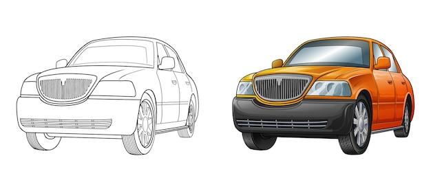Coloriage de dessin animé de voiture pour les enfants