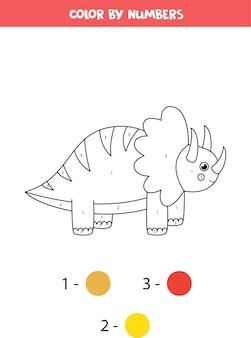 Coloriage avec dinosaure mignon de bande dessinée. couleur par numéros.
