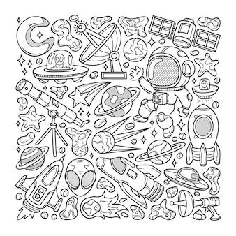 Coloriage doodle dessiné main espace