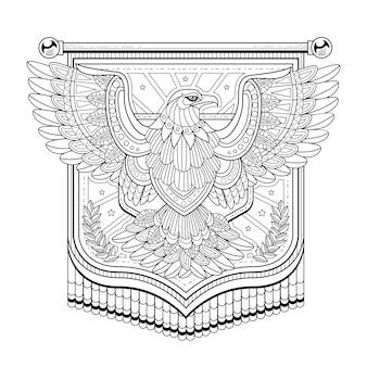 Coloriage de drapeau aigle volant dans un style exquis