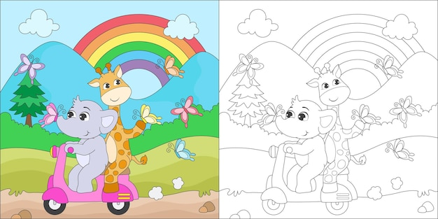 Coloriage éléphant et girafe