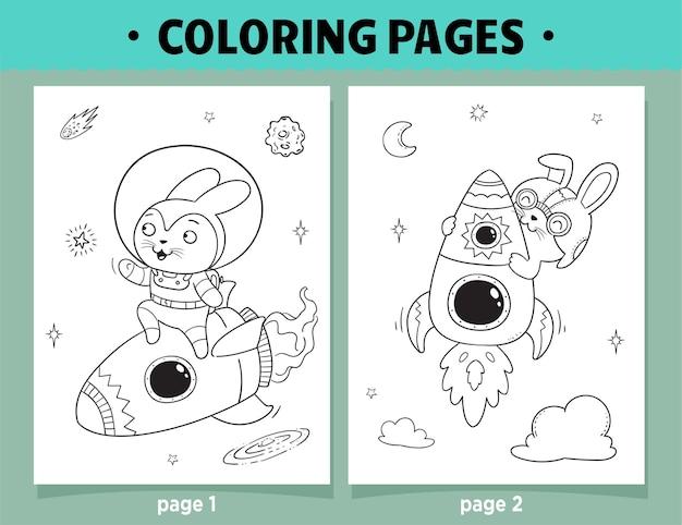 Coloriage espace de dessin animé lapin astronaute