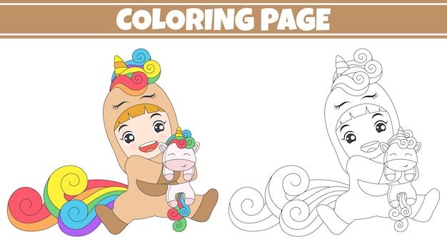 Coloriage fille jouant à la poupée licorne