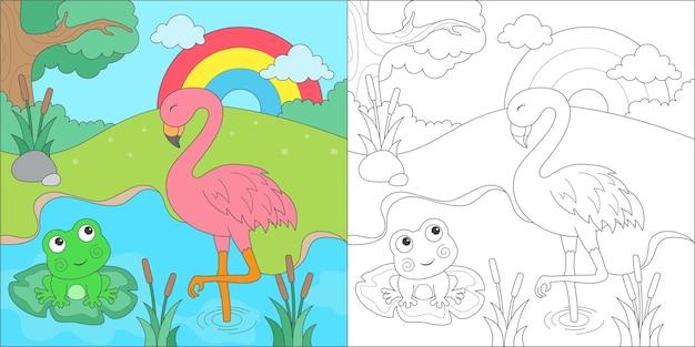 Coloriage flamant rose et grenouille