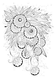 Coloriage avec des fleurs et des bourgeons ronds abstraits. illustration en noir et blanc.